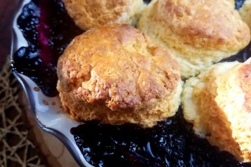 Spiced Rum Blueberry Cobbler