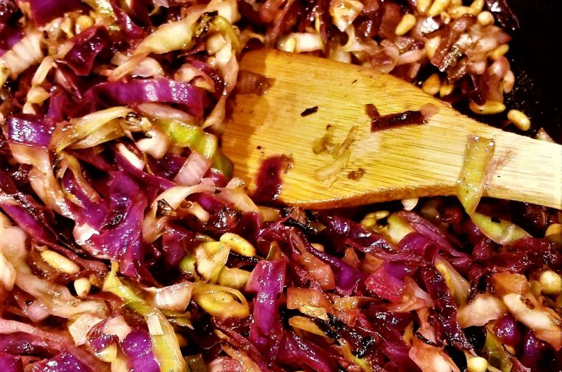 Seared Cabbage and Shallots with Toasted Pine Nuts